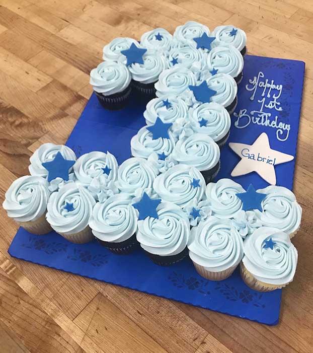 Single Number and Stars Cupcake Cake