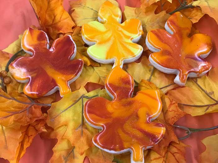 Autumn Leaf Iced Shortbread Cookies