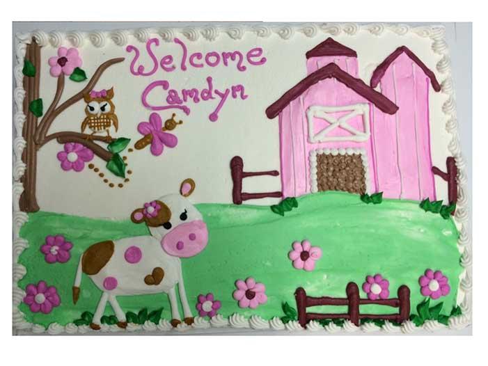 Welcome Baby Girl Barnyard Cake Design