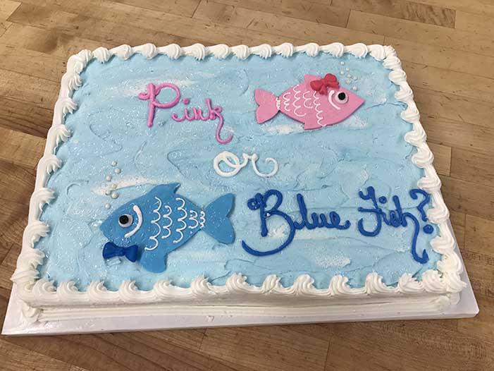 Pink or Blue Fish Gender Reveal Cake Design