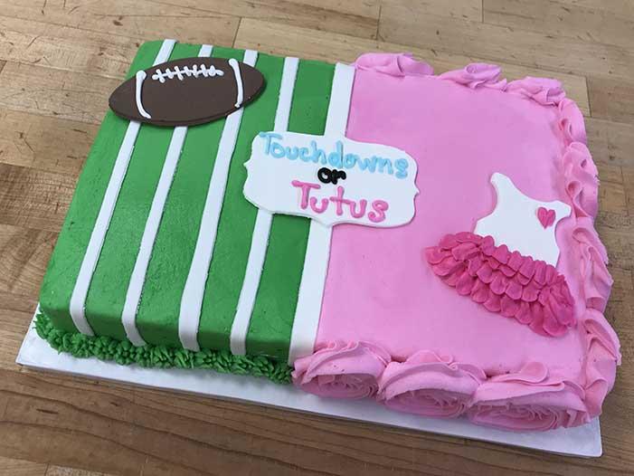 Touchdowns or Tutus Gender Reveal Cake Design