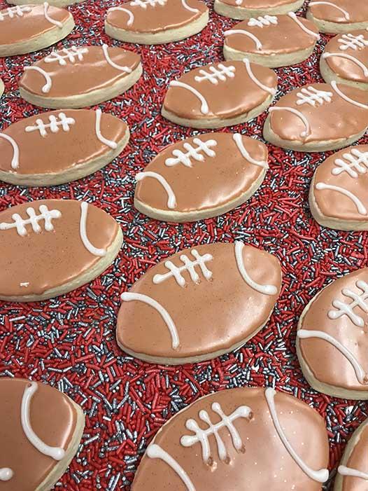 Iced Football Cookies
