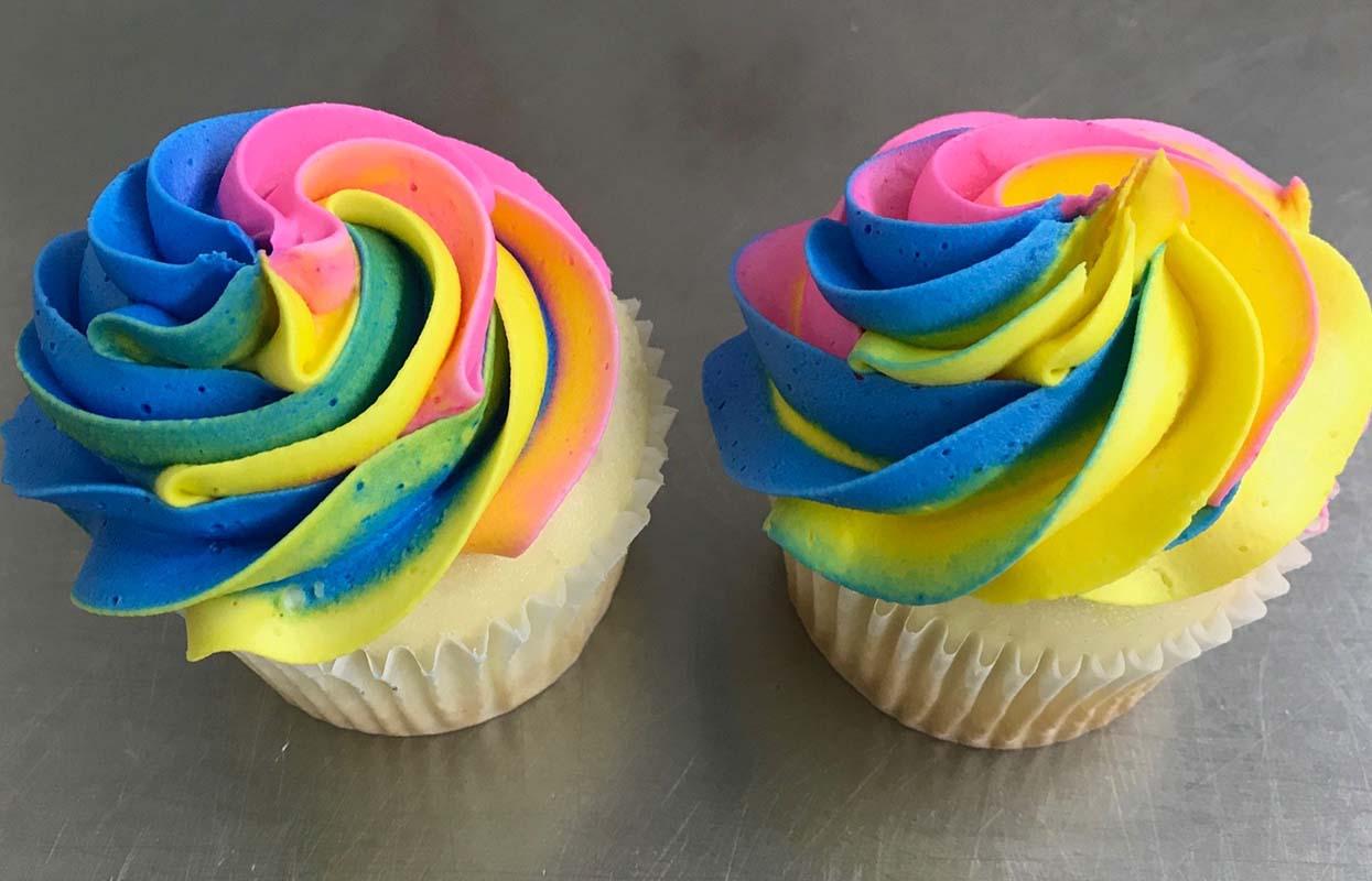 Rainbow Whirl Cupcakes